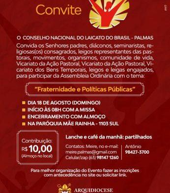 2ª Assembleia Ordinária Formativa será realizada pela Arquidiocese de Palmas