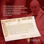 Papa Francisco concede indulgência plenária a fiéis que participarem da Procissão Luminosa e Missa do Círio de Nazaré em Palmas
