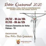 Arquidiocese de Palmas convida membros da Igreja a participarem do Retiro Quaresmal 2020