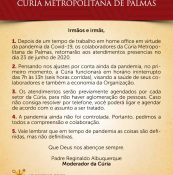 Cúria Metropolitana de Palmas retorna com as atividades presenciais nesta terça, 23