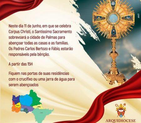 Padres da Arquidiocese de Palmas sobrevoarão a Capital com o Santíssimo para uma bênção especial de Corpus Christi