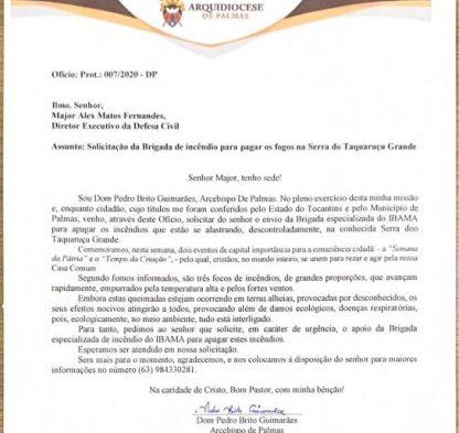 Arcebispo de Palmas solicita Brigada do IBAMA para apagar incêndios na Serra do Taquaruçu Grande